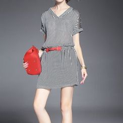 Alaroo - V-neck Pinstriped Short-Sleeve Dress