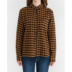 Someday, if - Pocket-Front Gingham Brushed-Fleece Shirt