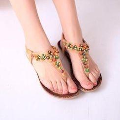 HOONA - 配色边珠珠夹趾凉鞋