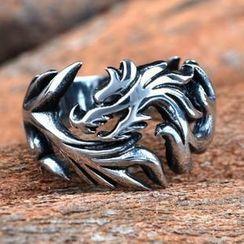 潮野 - 钛钢龙图案戒指