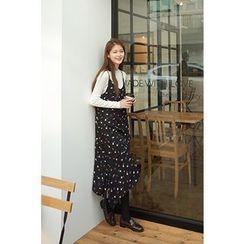 CHERRYKOKO - Spaghetti-Strap Asymmetric-Hem Chiffon Dress