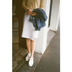 CHERRYKOKO - Asymmetric-Hem H-Line Skirt