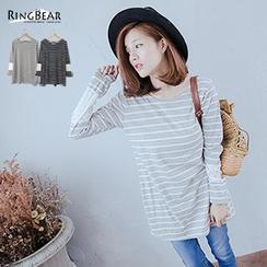 RingBear - Lace Panel Long Sleeve Striped Tee