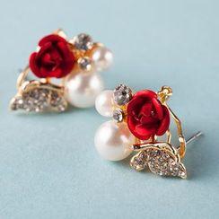 Suaylla - Bridal Flower Faux Pearl Earrings
