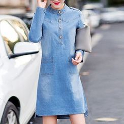 Neeya - Stand-collar Long-Sleeve Denim Dress