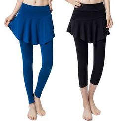 YANBOO - Fitness Inset Skirt Pants