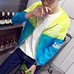 Keerme - Color-Block Hooded Zip Light Jacket