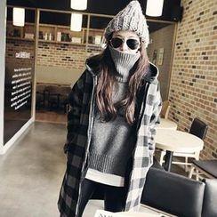 NANING9 - Wool Blend Hooded Check Coat