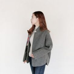 Seoul Fashion - Snap-Button Wool Blend Jacket