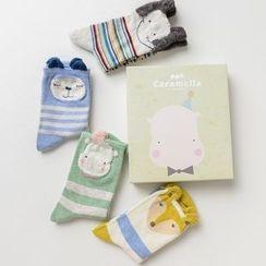 Socka - Pair of 4: Ear-Accent Printed Socks
