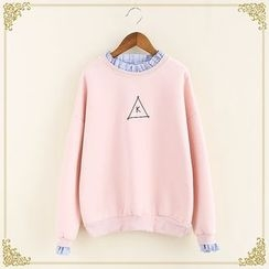 Fairyland - Embroidered Mock Two-Piece Sweatshirt