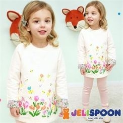 JELISPOON - Girls Flower Printed T-Shirt