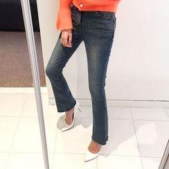 DISCOSALON - Washed Boot-Cut Jeans