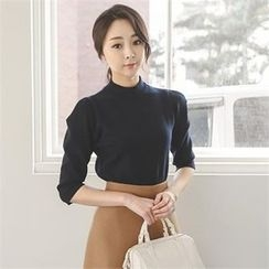 ode' - Mock-Neck Elbow-Sleeve Knit Top
