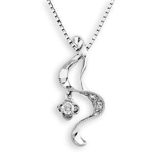 MaBelle - 18K White Gold Swirl Ribbon Diamond Milgrain Dangle Clover Pendant Necklace (0.14cttw) (FREE 925 Silver Box Chain, 16')