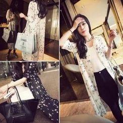 QZ Lady - Bird Print Long Chiffon Shirt