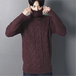 MITOSHOP - Turtle-Neck Wool Blend Cable-Knit Sweater