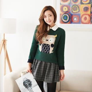 Cherryville - Round Neck Owl Print Sweater