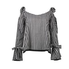 LIVA GIRL - Cold Shoulder Gingham Long-Sleeve Blouse