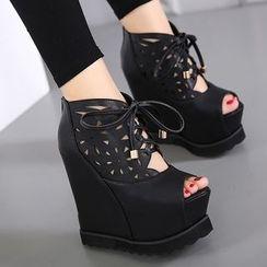 Anran - Peep-toe Wedge Platform Ankle Boots