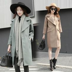 AiSun - Notch Lapel Long Woolen Coat