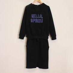 Momewear - Set: Appliqué Pullover + Drawstring-Waist Skirt