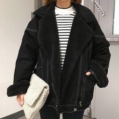 Cloud Nine - Oversized Fleece Lined Denim Jacket