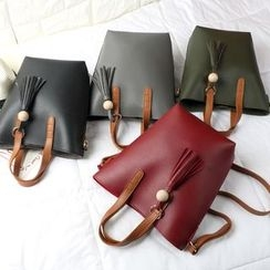 enoi - Set of 2: Faux Leather Bucket Bag + Shoulder Bag