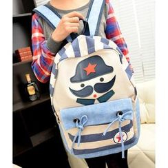 Miss Sweety - Appliqué Striped Canvas Backpack