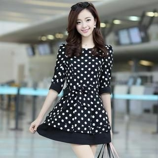 Aierys - 3/4-Sleeve Polka-Dot Tie-Waist Dress