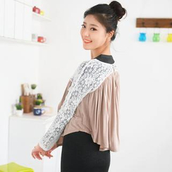 59 Seconds - Lace Inset Cropped Cardigan