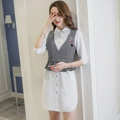 Cherry Dress - Set: Peplum Vest + Long-Sleeve Shirtdress