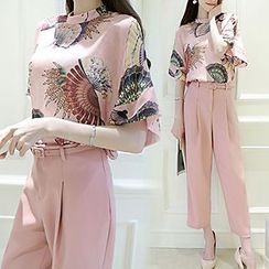 Lavogo - Set: Print Short-Sleeve Top + Wide Leg Pants