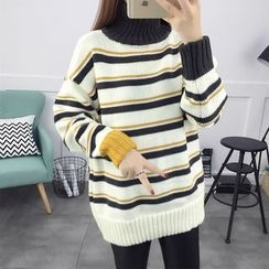 NIZ - Mock-Neck Striped Sweater