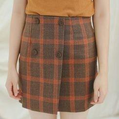 SUYISODA - Plaid Linen Cotton Skirt