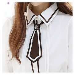 Sechuna - Contrast-Trim Pintuck-Detail Blouse with Necktie