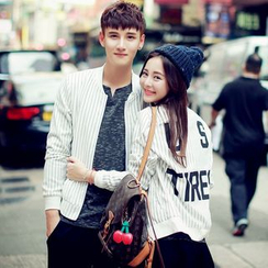 Evolu Fashion - Striped Couple Matching Zip Baseball Jacket