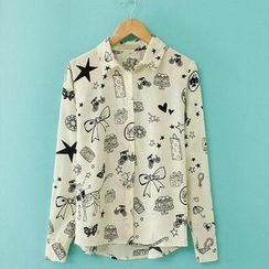JVL - Long-Sleeve Printed Chiffon Blouse