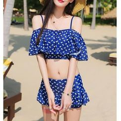 Jumei - Couple Matching Patterned Swim Shorts / Set: Patterned Swim Top + Swim Skirt