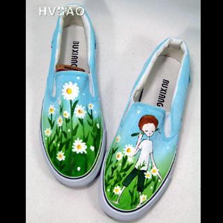HVBAO - 'Strolling among Flowers' Canvas Slip-Ons
