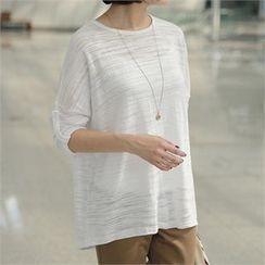 mayblue - Drop-Shoulder Tab-Sleeve T-Shirt