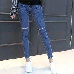 DANI LOVE - Slit-Trim Cutout Skinny Jeans