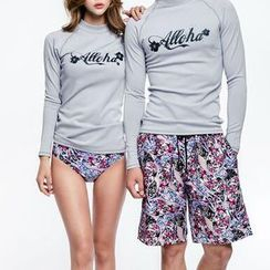 DJ Design - Couple Matching Set: Lettering Rashguard + Printed Swim Bottom