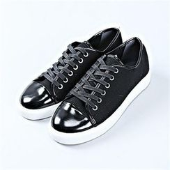 THE COVER - Faux-Leather Patent-Detail Sneakers