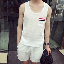 Bay Go Mall - Striped Applique Tank Top