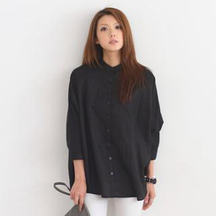 SO Central - Batwing-Sleeve Mandarin Collar Oversized Shirt