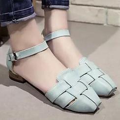 拍鞋 - 踝带编织平跟鞋