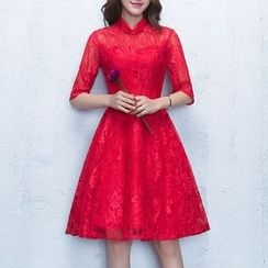 Luxury Style - Elbow-Sleeve Lace Cocktail Dress