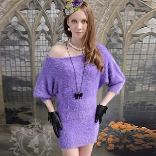Dabuwawa - Dolman-Sleeve Furry Knit Dress