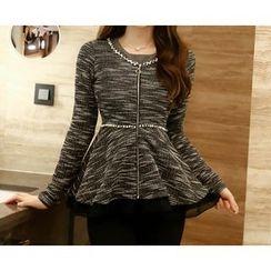 Marlangrouge - Embellished Zip-Up Tweed Jacket